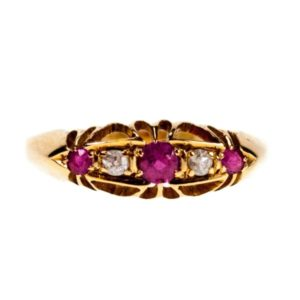 Antique Edwardian Ruby and Diamond Five Stone Ring