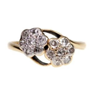 Antique Victorian Double Diamond Cluster Ring