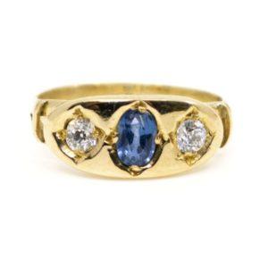 Antique Victorian Sapphire and Diamond Three Stone Ring