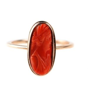 Antique Victorian Coral Cameo Ring