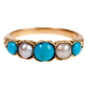 Antique Victorian Turquoise and Pearl Five Stone Ring