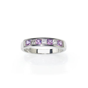 Pink Sapphire and Diamond Half Eternity Ring