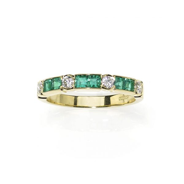 Emerald and Diamond Half Eternity Ring