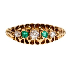 Antique Edwardian Emerald and Diamond Five Stone Ring