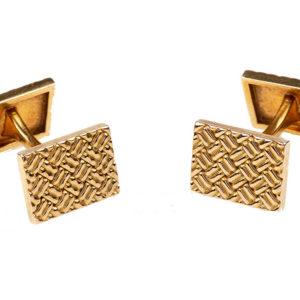 Vintage Van Cleef & Arpels Patterned Gold Cufflinks