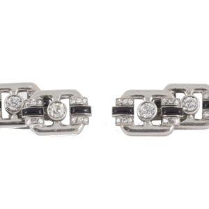 Antique Art Deco Onyx and Diamond Platinum Cufflinks