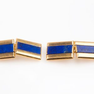 Antique Art Deco French Gold Lapis Lazuli Cufflinks