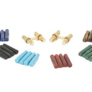 Vintage Van Cleef and Arpels Coloured Stone Baton Cufflinks