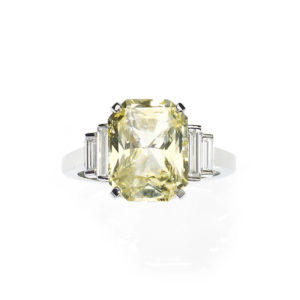 Art Deco Style Yellow Sapphire and Diamond Ring
