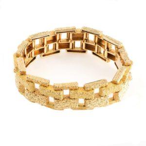 Vintage Brick Design Gold Bracelet