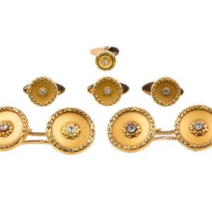 Antique Victorian Diamond Set Gold Cufflinks and Studs Dress Set