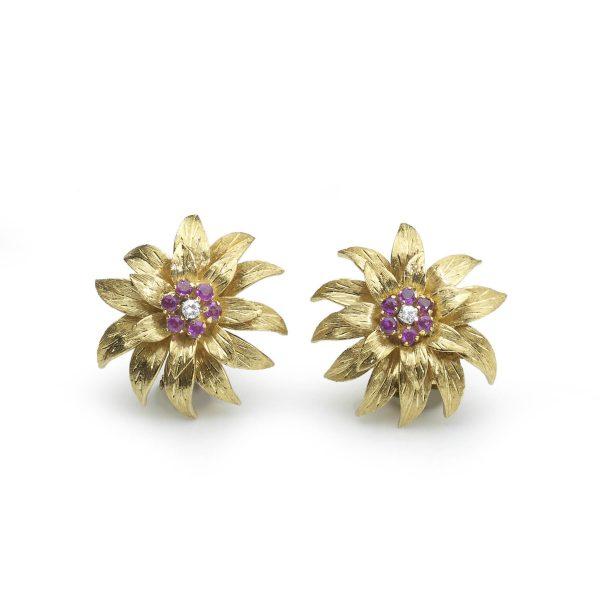 Vintage Tiffany and Co Flowerhead Clip Earrings