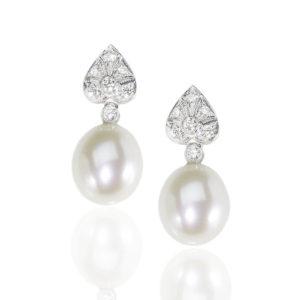 Diamond Topped Pearl Drop Earrings