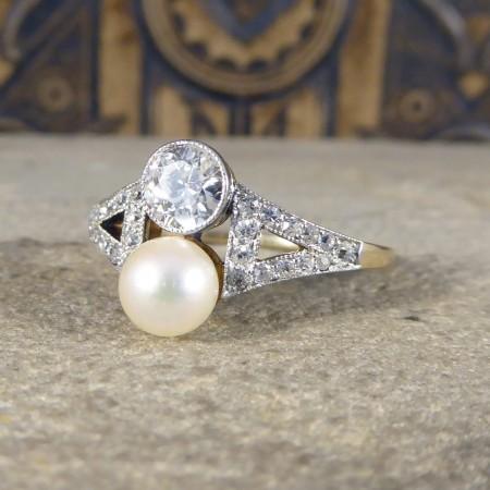 Antique art deco pearl diamond two stone toi et moi ring