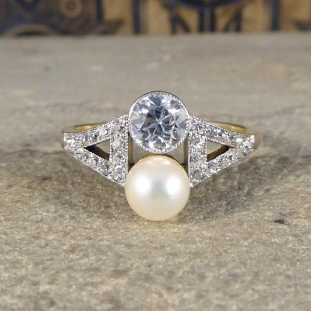 Antique art deco pearl diamond two stone ring