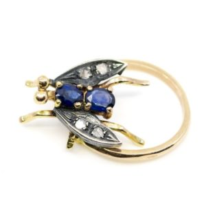 Victorian Style Sapphire and Diamond Fly Ring