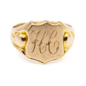 Antique Art Deco Gold Signet Ring