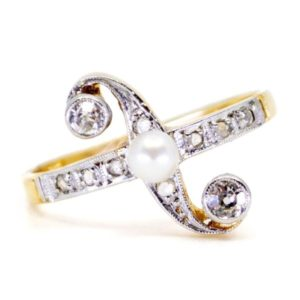 Antique Art Deco Diamond and Pearl Ring