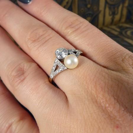 Edwardian two stone pearl diamond ring 1900 1910 1920