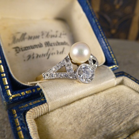 Natural pearl diamond ring old cut diamonds