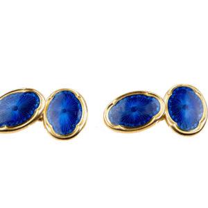 Antique Edwardian Deakin and Francis Blue Enamel Cufflinks