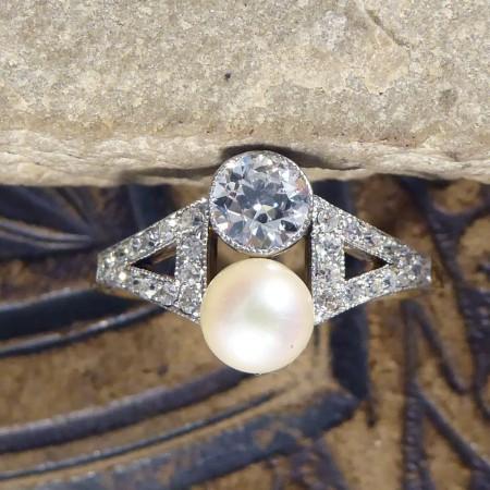 Natural pearl diamond ring old cut diamonds Antique jewellery