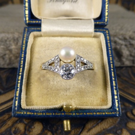 Natural pearl and diamond ring antique