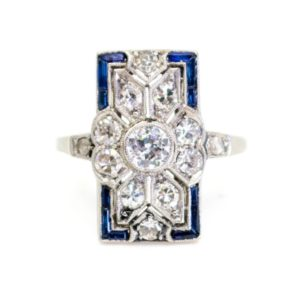 Art Deco sapphire and diamond ring, 1920 1930 rectangular shape