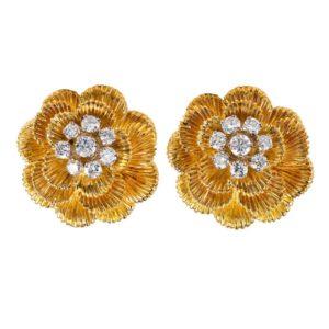 Vintage Kutchinsky Gold and Diamond Cluster flower Earrings
