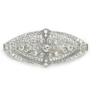 Antique Art Deco Platinum Diamond Brooch