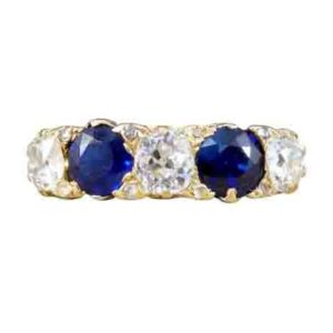 Antique Late Victorian sapphire diamond five stone ring