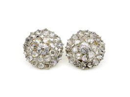 Antique rose cut diamond cluster earrings