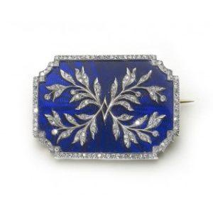 risler-carre-enamel-diamond-brooch Antique blue enamel and diamond brooch