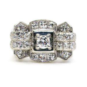 Retro Diamond and Platinum Ring