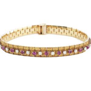 Vintage Burma Ruby and Diamond Gold Bracelet