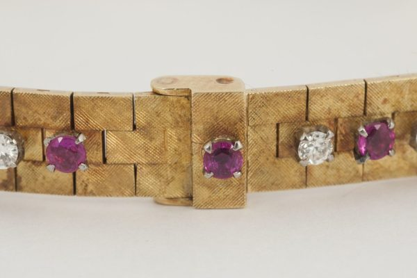 Vintage Burma Ruby and Diamond Gold Bracelet