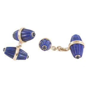 Lapis Lazuli & Sapphire Melon Shaped Cufflinks