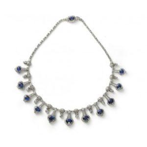 Sapphire and Diamond Fringe Necklace