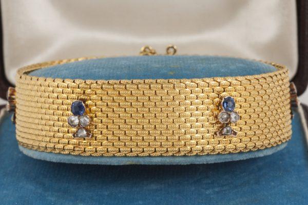 Antique Victorian Sapphire and Diamond Set Gold Bracelet