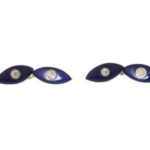 Antique Victorian Blue Enamel and Diamond Cufflinks