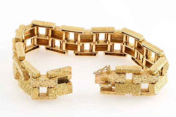 Vintage 18ct Yellow Gold Brick Design Bracelet