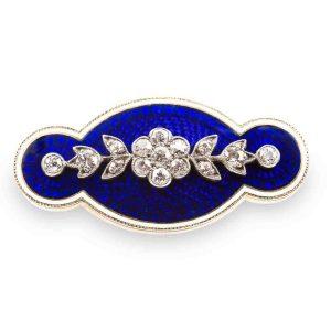 Antique Victorian Diamond Set Blue Enamel Brooch