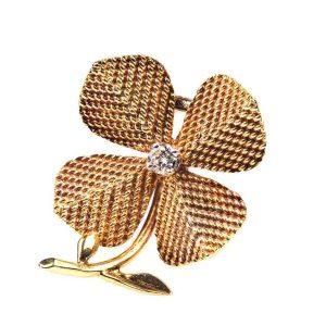 Vintage Sterle Diamond Set Four Leaf Clover Brooch