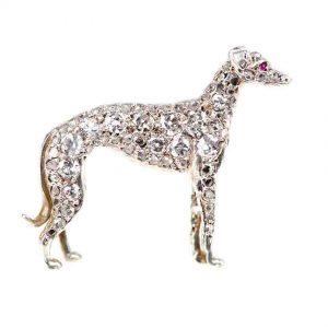 Antique Victorian Diamond Greyhound Brooch
