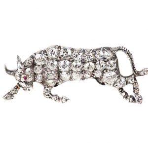 Antique Victorian Diamond Set Raging Bull Brooch