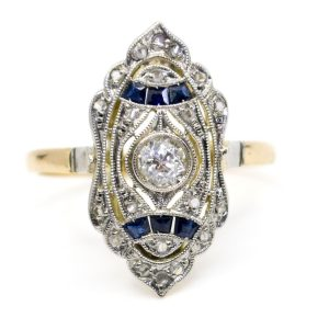 Antique Art Deco Sapphire and Diamond Ring