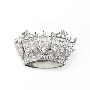 Diamond Set Naval Crown Brooch