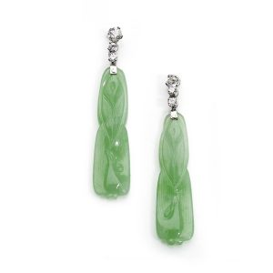 Vintage Diamond Topped Carved Jade Pendant Earrings