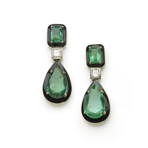 Emerald, Diamond and Black Enamel Pendant Earrings