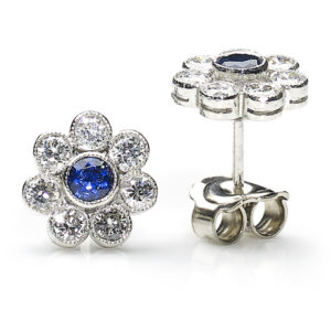 Sapphire and diamond cluster earrings flower style